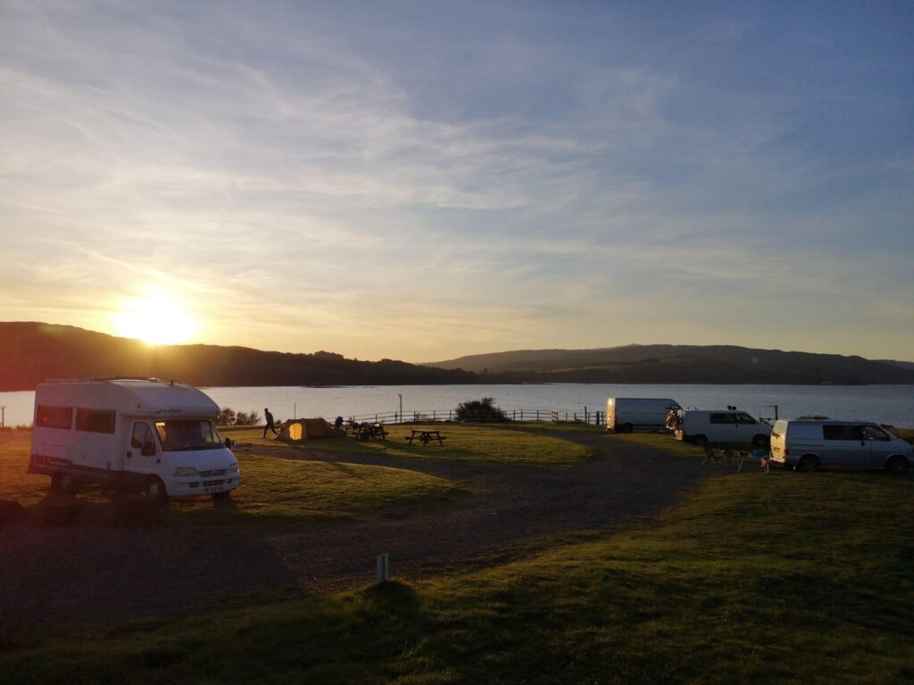 Views over Salen Bay Campsite