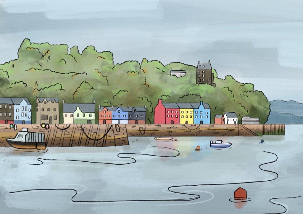 Tobermory, Isle of Mull watercolour sketch